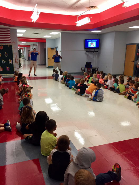 Pre-K and TK students listening to our Boosterthon leaders.