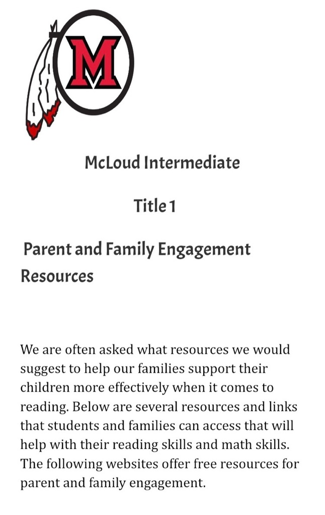 Intermediate Title 1 Reading and Math parent resources
