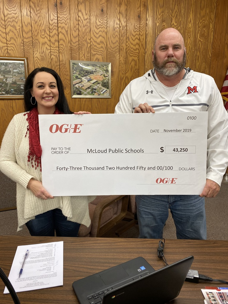 First Rebate Check from OG&E LED lighting project